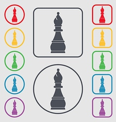 Chess bishop icon sign symbol on the round and vector