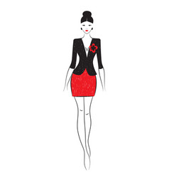 fashion model sketch silhouette of beautiful vector image vector image