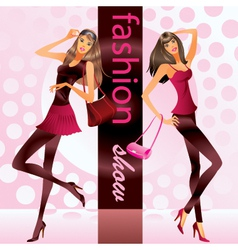 Fashion models represent new clothes at show vector image vector image