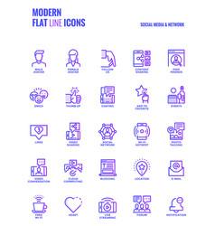 flat line gradient icons design-social media amp vector image vector image