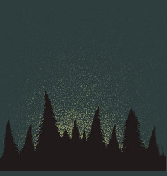 forest silhouette at the night time vector image vector image