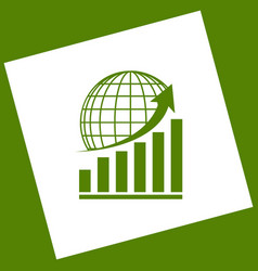 Growing graph with earth white icon vector