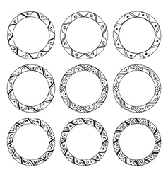 Hand drawn round frames design elements vector