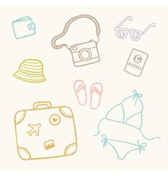 Hand drawn sketch travel set vector image