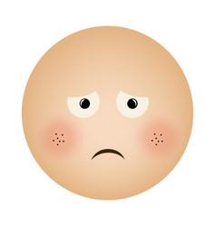 Human face emoticon sad expression vector