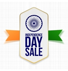 Independence day sale label with ribbon vector