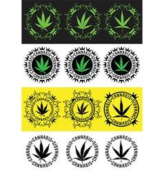 marijuana cannabis leaf silhouette symbol stamps vector image vector image