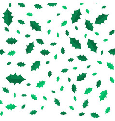 mistletoe christmas tree leaves seamless pattern vector image