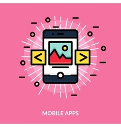 Mobile Application Flat Icon vector image