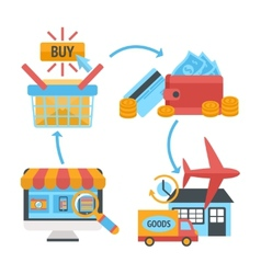Online internet website shopping icons set vector image