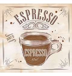 Poster espresso kraft vector image vector image