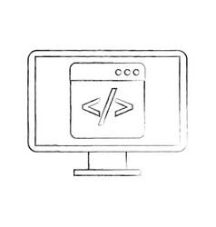 Programming window with script code computer vector