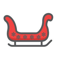 santa sleigh filled outline icon new year vector image vector image