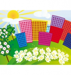 solar city among the flowers vector image vector image