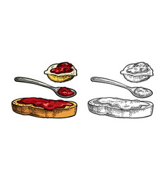 spoon and slice of bread with jam vintage vector image vector image