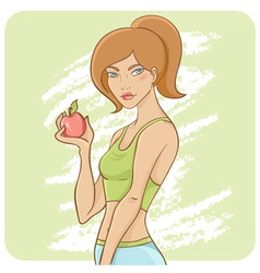 Sporty fit girl on a diet vector image