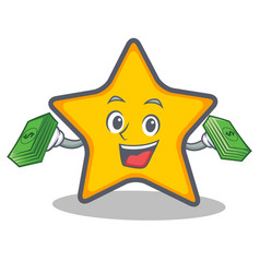 Star character cartoon style with money vector