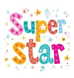 Super star decorative lettering type design vector