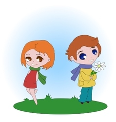 The boy gives flowers to the girl vector image vector image
