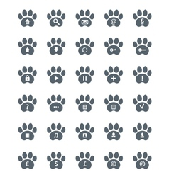 Traces of cat icons set vector