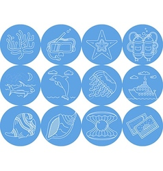 Underwater blue round icons vector image