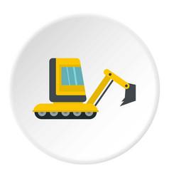 Yellow mini excavator icon circle vector