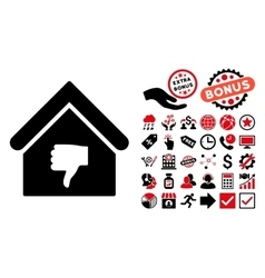 Thumb down building flat icon with bonus vector