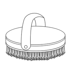 Horse body brush icon in outline style isolated on vector