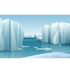 Cartoon realistic nature winter arctic ice vector
