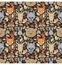 Seamless pattern with animals and leaves vector