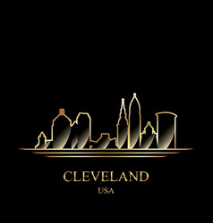 Gold silhouette of cleveland on black background vector