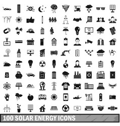 100 solar energy icons set simple style vector