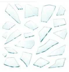 broken glass fragments shards realistic set vector image