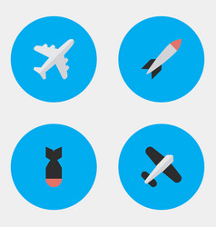Set of simple plane icons elements aircraft bomb vector