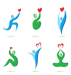 icons with heart vector image
