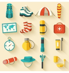 Flat colorful tourist equipment infographic icons vector