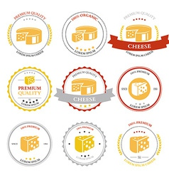 Set of premium cheese labels badges vector