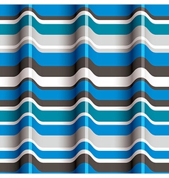 3D blue waves seamless pattern vector image