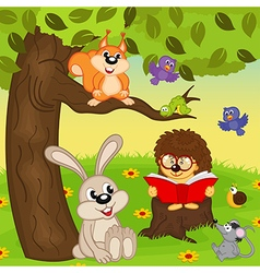 Hedgehog reading book for animals vector