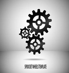 Sprocket wheels motif on divided background in vector