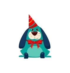 Little dog with a party hat on vector