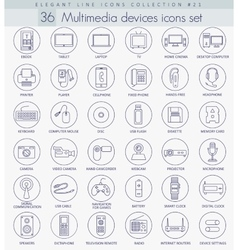 Multimedia devices outline icon set vector