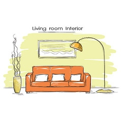 Sketchy of living room color interior hand d vector