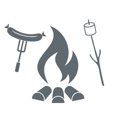 Fire marshmallow and sausage icon vector