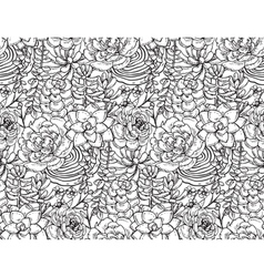 Seamless pattern with hand drawn succulent vector