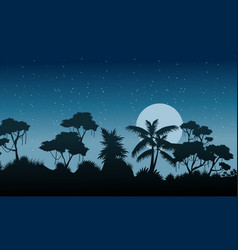 At night forest landscape with tree silhouette vector