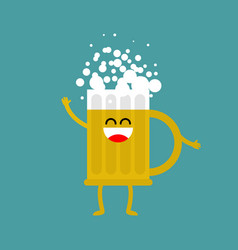 beer happy isolated lager mug on white background vector image vector image