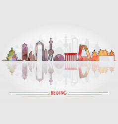 beijing city silhouette with city silhouette vector image