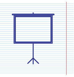 Blank projection screen navy line icon on vector