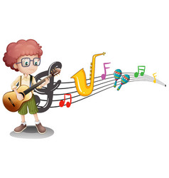 Boy plays guitar and music notes in background vector